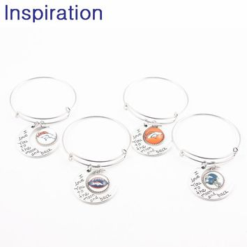New I Love You To the Moon and Back USA Football Denver Broncos Team Logo Adjustable Expandable Bangle Bracelets 4pcs/lot Silver