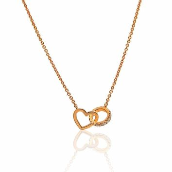 Luxinelle Rose Gold Interlocking Heart and Diamond Circle on a Chain Necklace - 18K