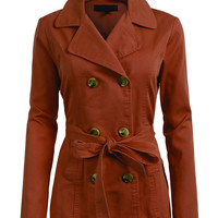 LE3NO Womens Lightweight Double Breasted Coat Jacket with Belt