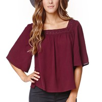 LA Hearts Crochet Neck Top - Womens Shirts