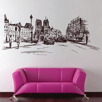 ik2687 Wall Decal Sticker France Paris street city hall bedroom