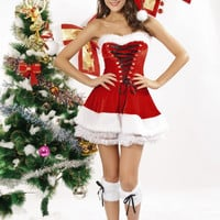 Red Strapless Lace Up  Ruffled Velvet Christmas Corset Set