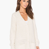 White Long Sleeve Knitted Cardigan