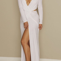 White Deep V Neck Draped Jersey Dress
