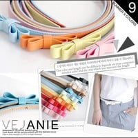 Double-layer thin belt belt bow nine color