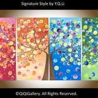 """Original Art Large Painting Heavy Texture Impasto four season Tree """"365 Days of Happiness"""" by qiqigallery"""