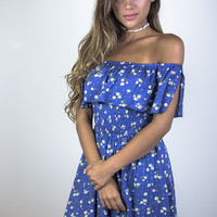 All Or Nothing Blue Fit And Flare Dress