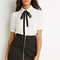 Peter Pan Collar Bow Blouse