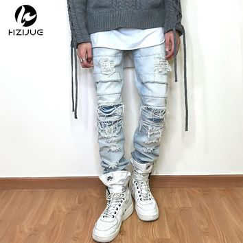 HZIJUE 2017 Newest Fashion Tie-Dye Hole Destroyed Mens Slim Denim Straight Biker Skinny Jeans Men Ripped Jeans