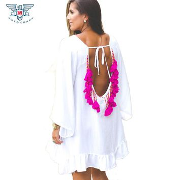 Sexy Ruffles Women Dress Summer Backless Dresses Party Short Mini Beach Tunic Tassel Beads Cover Up Beachwear
