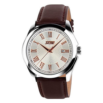 Mens Unique Roman Numeral Analog Quartz Waterproof Business Casual Wrist Dress Watch with Comfortable Leather Watch Band Strap, Key Scrath Resitant Face and Classic Design Calendar Date Window, 98FT 30M 3ATM Water Resistant - Rose Gold