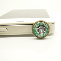 1PC Retro Epoxy Transparent Gems Starbucks Coffee Cell Phone Earphone Jack Anti dust Plug Charm for iPhone 4s,4g,5,5s,Samsung S4, Nokia HTC