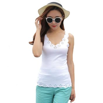 Women Casual Thin Tops Tees Sleeveless V-Neck Solid Vest 2017 New Cotton Knitted Slim Ladies Tanks Tops Summer Hollow T shirts