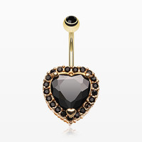 Golden Heart Extravagant Belly Button Ring