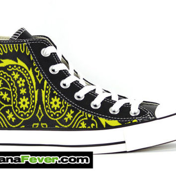 Converse Yellow Bandana Custom Graphic Black Chuck Taylor Hi + FREE SHIPPING - by Bandana Fever