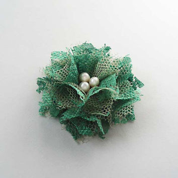 Green Lace Flower Hair Clips, Fabric Flowers Hair Accessories