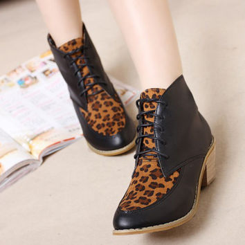 Stylish New Womens Bootie Patchwork Lace-up Ankle Boots Leopard Print Shoes 1mv