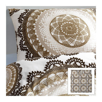 LYCKOAX Duvet cover and pillowcase(s) - white/brown - King - IKEA