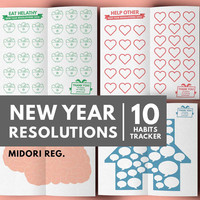 2016 New Year Resolution Tracker, Habit Building, Midori Insert Printable, Midori Refill, Healthy Habit, Fitness Planner, Health Planner