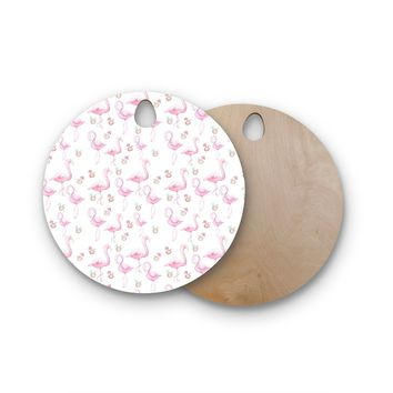 "Stephanie Vaeth ""Flamingos"" Pink White Painting Round Wooden Cutting Board"
