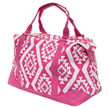 Monogrammed Pink Aztec Weekend Bag