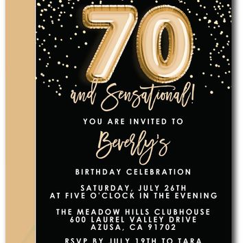 Gold Foil Balloons Birthday Invitations