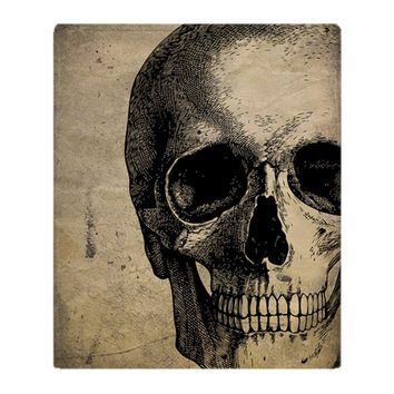 Vintage Skull Soft Fleece Throw Blanket