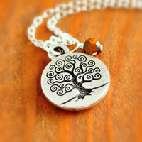 Tree of Life Necklace - silver tree of life, sterling silver, tree necklace, tigar eye necklace