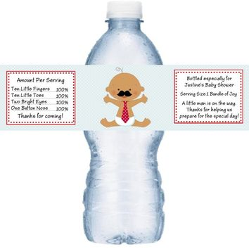 21 Mustache Little Man Baby Shower Water Bottle Label