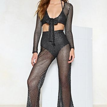 Caught Ya Fishnet Metallic Top and Pants Set