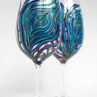 Peacock Wine Glasses -- Set of 2 Hand Painted Peacock Feather Glasses in Amethyst and Sapphire