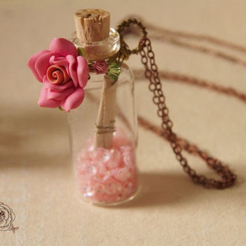 ROSE POTION :  Pink rose pixie dust bottle necklace secret message in a bottle necklace miniature home decor rose necklace best friend gift