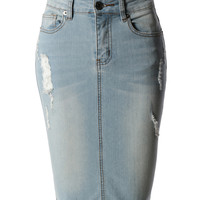 LE3NO Womens High Waisted Distressed Denim Pencil Skirt with Pockets (CLEARANCE)