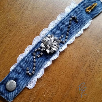 Denim Lace with Rhinestones Cuff Bracelet, Upcycled