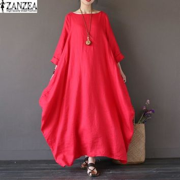 ZANZEA Womens Crewneck 3/4 Sleeve Baggy Maxi Long Casual Party Shirt Dress Summer Kaftan Solid Robe Linen Vestido Plus Size
