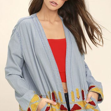 Artist Retreat Light Blue Embroidered Chambray Jacket