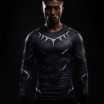 Men's Black Panther Cool-dry Long Sleeve Compression Shirt