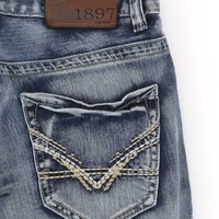 1897 Straight Jeans with Heavy Khaki Embroidery for Men in Light Wash GL004G