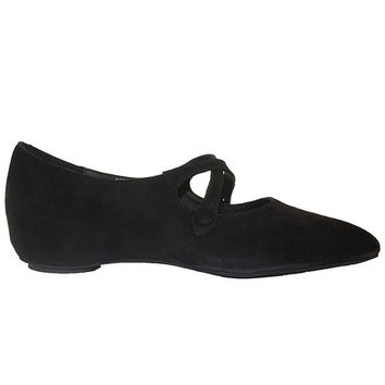 Jeffrey Campbell Rapallo - Black Suede Pointed Crisscross Flat