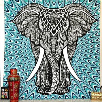 Psychedelic Elephant Blue Green Boho Wall Bed Tapestry