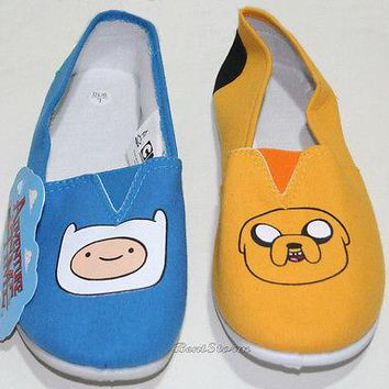 Licensed cool NEW ADVENTURE TIME WITH FINN JAKE CANVAS SLIP ON SHOES SLIPPERS ADULT LADIES M L