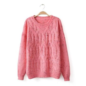 Long Sleeve Knit Tops Pink Twisted Pullover Winter Sweater [8422525377]