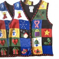 Shop Now! Ugly Sweaters: Bright Colorful Tacky Ugly Christmas Sweater Vest Women's Size Medium (M) or XL - The Ugly Sweater Shop