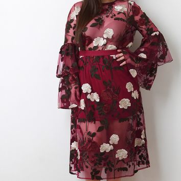 Floral Embroidery Mesh Trumpet Sleeve Two Piece Dress