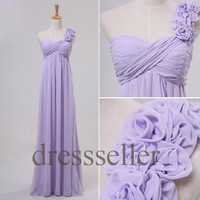 Custom Lilac One Shoulder Long Bridesmaid Dresses 2014 Prom Dresses Wedding Party Dress Cocktail Dress Party Dress Evening Gown Formal Wear