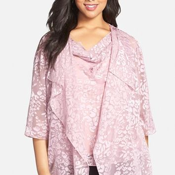 Plus Size Women's Alex Evenings Burnout Chiffon Twinset,