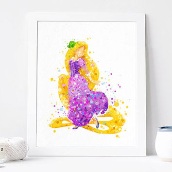 Rapunzel Print, Tangled Disney - Watercolor, Art Print, Home Wall decor, Watercolor Print, Disney Princess Poster