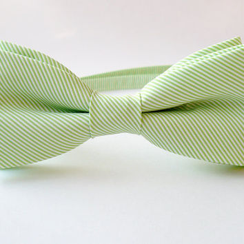 Mens bow tie freestyle groom wedding hipster classic retro necktie chic handmade gift for him by Bartek Design - Green Apple Mint