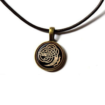 Bird necklace Pagan pendant Celtic knot jewelry NW283