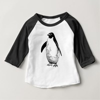 Penguin Black White Animal Modern Baby T-Shirt